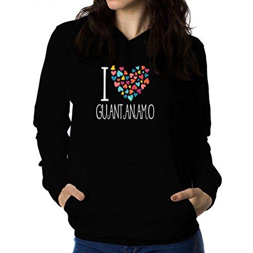サリー蜂落ち着いてI love Guantanamo colorful hearts 女性 フーディー