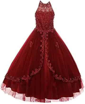 831e951f5cb86 Cinderella Couture Little Girls Burgundy Dazzling Rhinestone Pearls Halter  Neck Pageant Dress 2-6