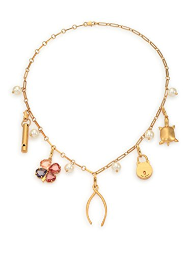 Tory Burch Short Charm Necklace Lucky Charms Brass 20'' 16k Gold Plated Brass With Dust Cover by Tory Burch