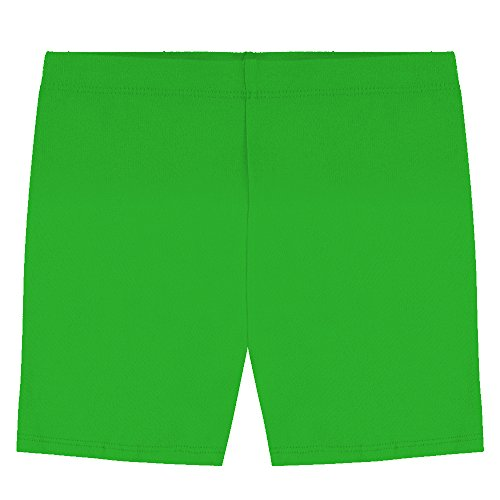 Popular Big Girl's Cotton Bike Shorts - Green - 14 (Cotton Metallic Skirt)