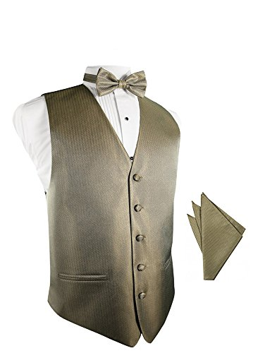 (Champagne Herringbone Tuxedo Vest with Bowtie & Pocket Square Set)