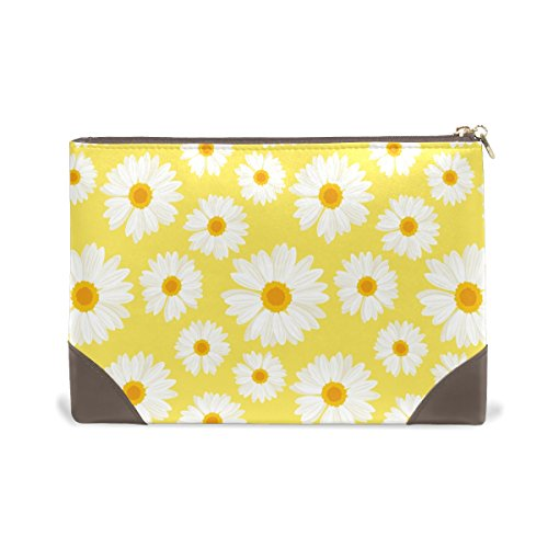 MMstyle Daisy Flower Yellow White Leather Large Cosmetic Mak