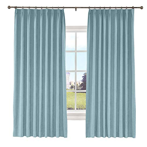 Macochico Pinch Pleated Curtain Blackout Lined Polyester Cotton Drapes for Bedroom Noise Reducing for Living Room Bedroom Meetingroom Patio Door,Blue Gray 100W x 84L Inch (1 Panel)