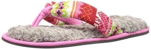 Dearfoams Mujeres Fairisle Thong Slipper Bright Combo