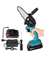 Mini-kettingzaag, 4 inch accu-kettingzaag, snoeischaar, kettingzaag, handheld mini-kettingzaag met accu en oplader, eenhands-elektrische zaag, tuinhoutbewerking voor tuinboom AST houtsnijden
