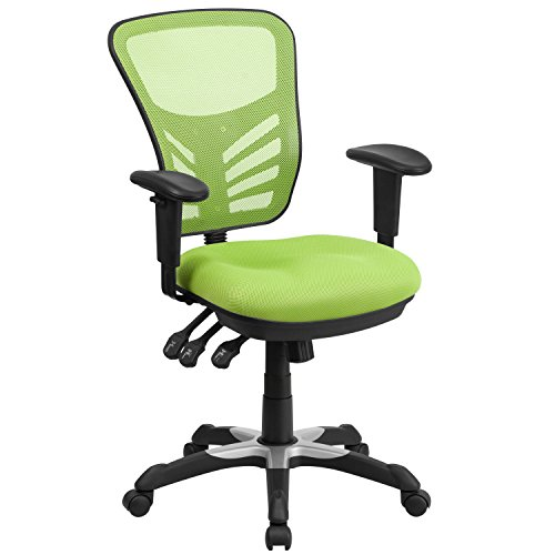 Mid Back Swivel Contemporary (Flash Furniture Mid-Back Green Mesh Multifunction Executive Swivel Chair with Adjustable Arms)