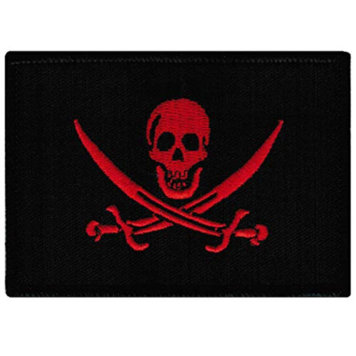 Jolly Roger Calico Jack Flag Embroidered Patch Black Red Pirate Skull Iron-On