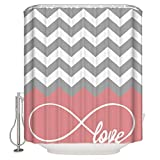 Pink and Gray Chevron Shower Curtain CHARMHOME Sea Secret Love Infinity Forever Love Symbol Chevron Pattern Pink Grey White Waterproof Bathroom Fabric Shower Curtain,Bathroom Decor 60x72 Inch