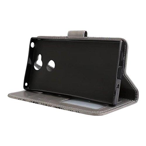 cowx Teléfono Móvil para Sony Xperia XA2Carcasa Piel Flip Case Carcasa para Sony Xperia XA2funda Cover Datura–Gris