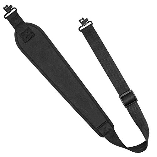 Braudel 2 Point Sling, Heavy Duty Wide Padded Rifle Sling with Swivels,Length Adjuster,Gun Shoulder Strap for Hunting Sports and Outdoors, Heavy Duty Black ()