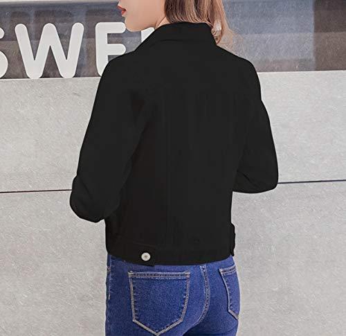 Automne Outwear Jean Denim Longues Tops Et Casual En Femme Manches qpFnRIYwxg