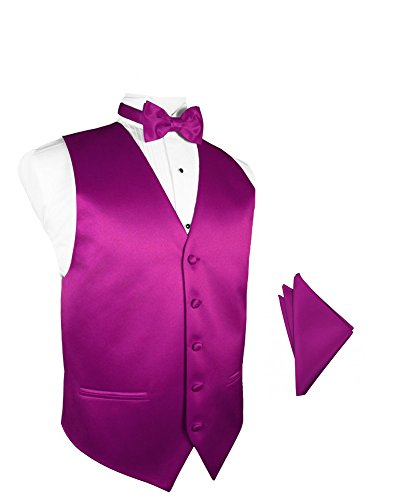 Fuschia Satin Tuxedo Vest with Bowtie & Pocket Square Set ()
