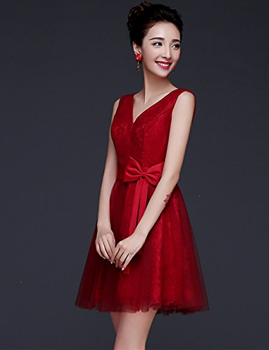 Damen Bright Ausschnitt Brautjungfernkleid V Great Weinrot Cocktailkleid DL0017A wA5qCX6