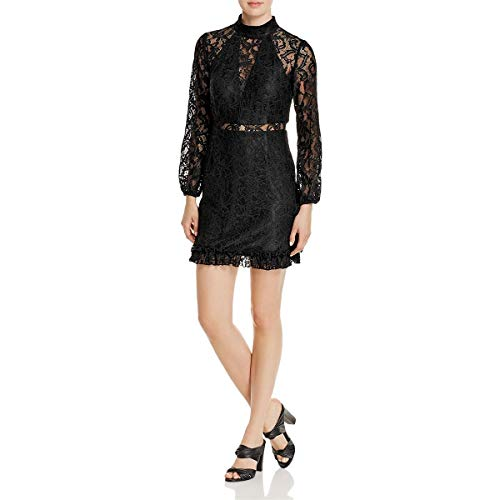 Laundry by Shelli Segal Women's Lace Dress with Ruffle Hem and Sleeves, Black, 8 from Laundry by Shelli Segal