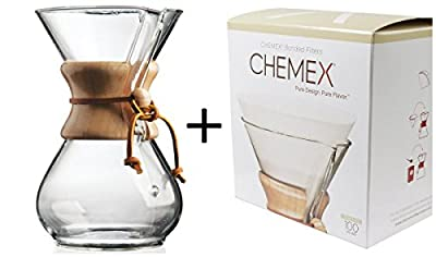 Chemex Classic Wood Collar and Tie Glass 6-Cup Coffee Maker with 100 Count Bonded Circle Coffee Filters by Chemex