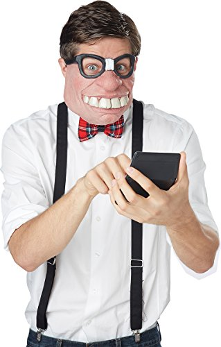 California Costumes Men's Geeked Out Mask, Black/Flesh, One - Dork Costume