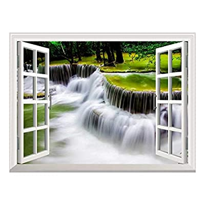 Removable Wall Sticker/Wall Mural - Cascading Waterfall | Creative Window View Home Decor/Wall Decor - 36