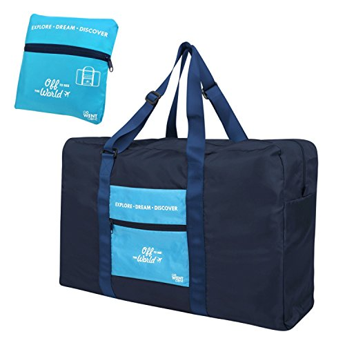 zodaca-foldable-lightweight-travel-duffel-bag-water-resistant-luggage-for-sport-gym-navy-blue-sky-bl