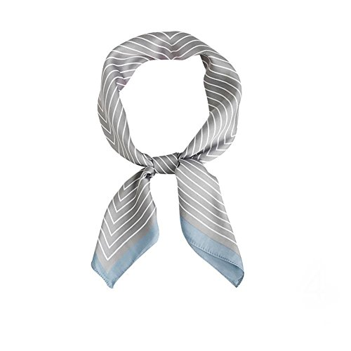 RoseSummer Elegant Designs Ladies Small Square Silk Feel Satin Scarf Headscarf Neckerchief Hair Tie Band (Grey)