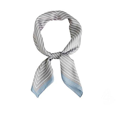 RoseSummer Elegant Designs Ladies Small Square Silk Feel Satin Scarf Headscarf Neckerchief Hair Tie Band (Grey)