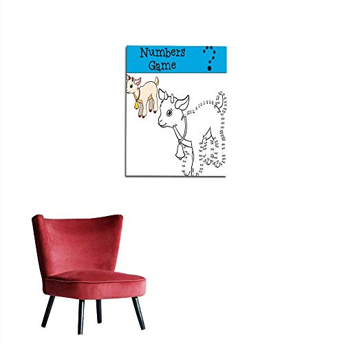 longbuyer Poster Wall Decor Educational Games for Kids Numbers Game with Contour Baby Goat Mural 24