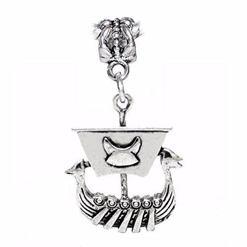 Viking Ship Pirate Boat Norse Longship Dangle Charm for European Bead Bracelets Crafting Key Chain Bracelet Necklace Jewelry Accessories Pendants ()