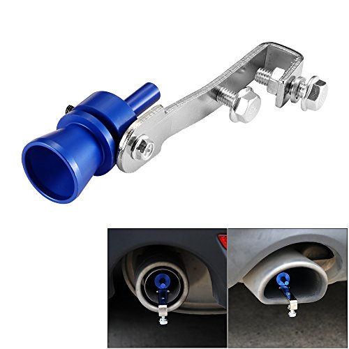 Houkiper Universal Car Turbo Sound Whistle Exhaust Muffler Exhaust Pipe BOV Blow Off Valve Simulator for BMW Nissan Turbo Sound Noise Muffler Fit 37mm-48mm Tail Pipe (Blue)