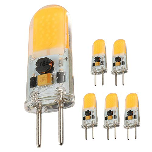lbs,4W Bi-pin Base AC/DC 12V 2700K Warm White Dimmable, G6.35/GY6.35 Base JC Type LED Halogen Incandescent 40W Replacement Bulb 5Pack (4) ()