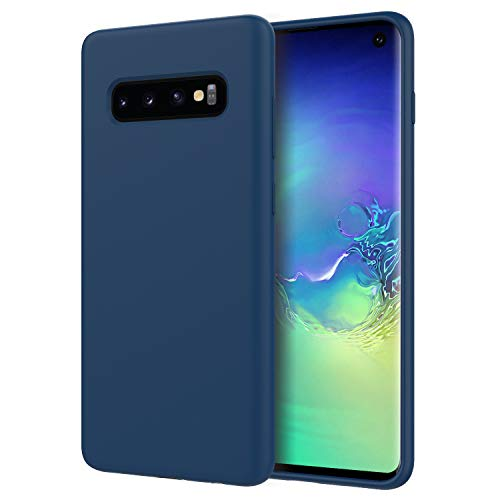 MoKo Compatible with Galaxy S10 Case, Shockproof Slim Fit Liquid Silicone Gel Rubber Protective Case Soft Touch Back Cover Fit with Samsung Galaxy S10 6.1 inch 2019 - Cobalt Blue