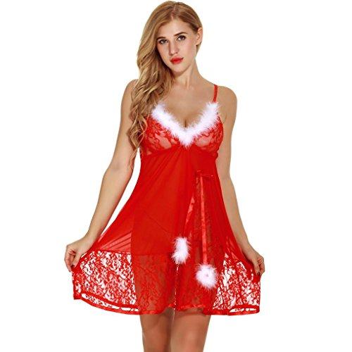 DKmagic Women's Christmas Sexy Lingerie Babydoll Chemises Halter Red Sleepwear Set (M) (Paper Dolls Cotton Halter Dress)