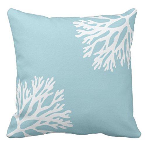 Emvency Throw Pillow Cover Hue Sea Coral Silhouettes Blue Light Decorative Pillow Case Home Decor Square 20 x 20 Inch Pillowcase