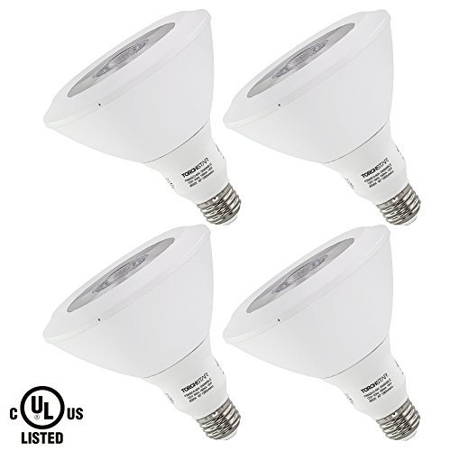 Torchstar #Dimmable# PAR38 LED Light Bulb, 18W (100W Equivalent), 4000K Cool White, 1200Lm, E26 Medium Base, Damp Location Available, 3 YEARS WARRANTY, Pack of 4