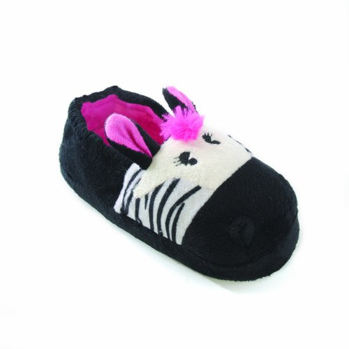 Kids/Childrens Little Girls Zebra And Teddy Slippers With Ea