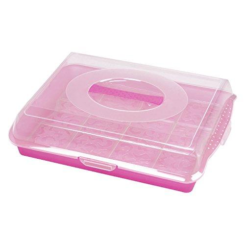 Königskuchenplatte Servierplatte 44,5 x 35 cm Kuchenplatte Tablett + Haube + Tragegriff rosa kristall