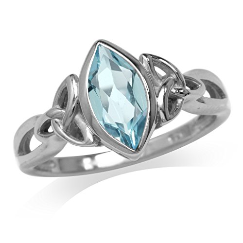 (Silvershake 1.3ct. Genuine Blue Topaz White Gold Plated 925 Sterling Silver Triquetra Celtic Knot Solitaire Ring Size 7)