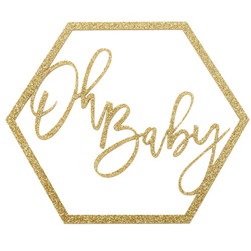 Koyal Wholesale Glitter Acrylic Sign, Wedding Display, Party Banner, Event Decorations for Wedding Engagement Bridal Shower Baby Shower Birthday Party Dessert Bar (Oh Baby) -