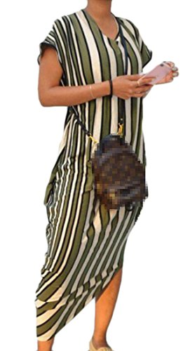 Long Irregular Striped Party Dress Domple Stylish Women Crewneck 6 Short Sleeve Yw008PxIq