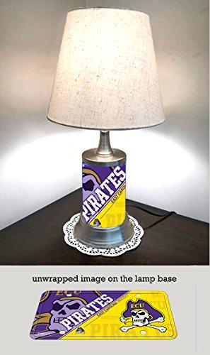 East Carolina Pirates Lamp - JS Table Lamp with Shade, East Carolina Pirates Plate Rolled in on The lamp Base