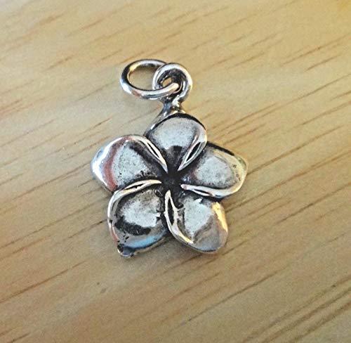 15 Pendant Mm Plumeria (Pendant Jewelry Making Sterling Silver 3D 17x15mm Plumeria Flower 5 Petal Charm)