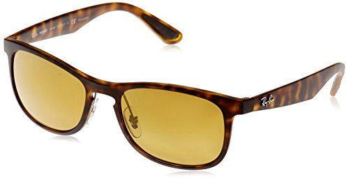 Ray-Ban Men's Injected Man Polarized Iridium Square Sunglasses, Matte Havana, 55 - Bans Ray Brown