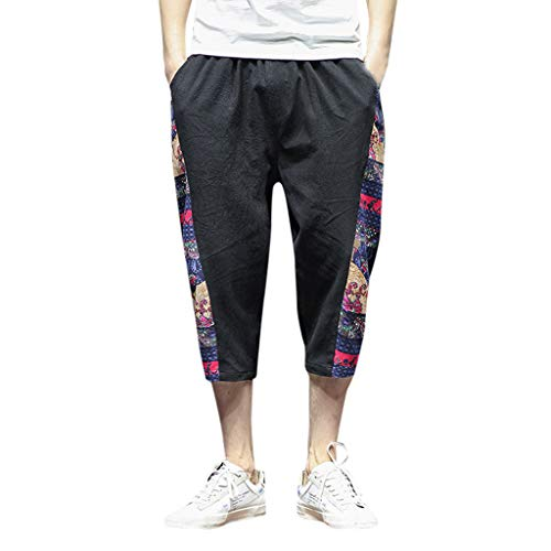 iYYVV Men Fashion Wide Crotch Harem Cotton Linen Wide-Legged Bloomers Cropped Trousers Black
