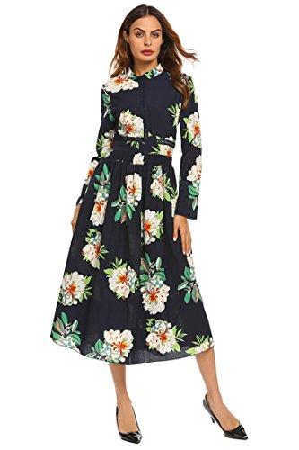 SE MIU Women's Vintage Empire Floral Print Long Sleeve Cocktail Party Boho Maxi - Miu Miu Vintage