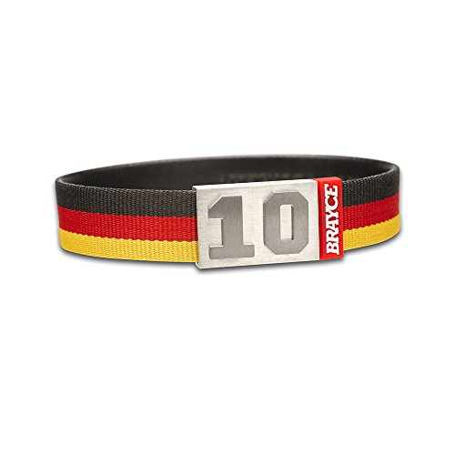 "fan products of BRAYCE Team Colors: Customize your jersey bracelet black/red/yellow with your player number (0-99) 7 sizes (6,3"" – 8,7""): Hockey, Baseball, Basketball & Football"
