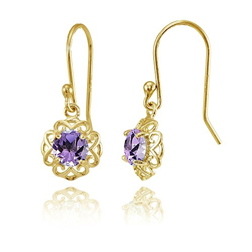 (Yellow Gold over Sterling Silver Amethyst Round Filigree Dangle Earrings)