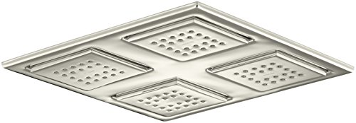 KOHLER K-98740-SN Watertile Rain Overhead Showering Panel with 4 22-Nozzle Sprayheads, Vibrant Polished Nickel
