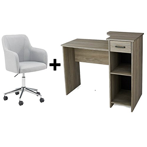 Light Oak Desk (Student Desk - Home Office Bedroom Furniture Indoor Desk With High Density Foam Seating Low Back Chair Bundle Set - Rustic Oak Desk/Light Gray Chair)