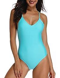 FITTOO Bikini Monokini Mujer Push-up Acolchado Bra Trajes de Baño Brasileño una Pieza