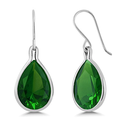 Sterling Silver Green Simulated Emerald Dangle Earrings 16.50 cttw Pear Shape 16X12MM