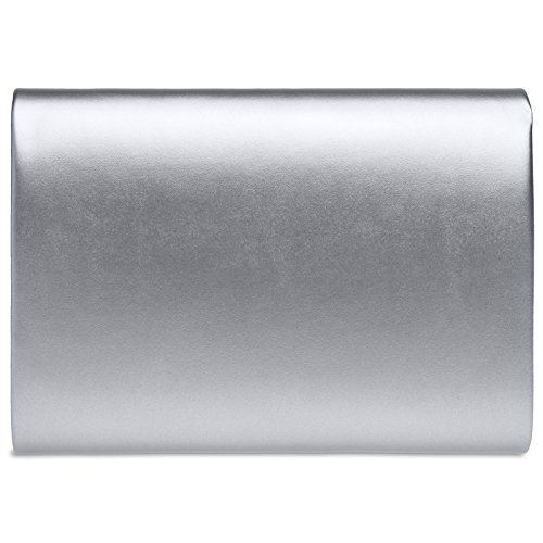 XL CASPAR Square Clutch Bag Envelope Large Elegant Silver Ladies Evening TA411 Flat O8rwqO