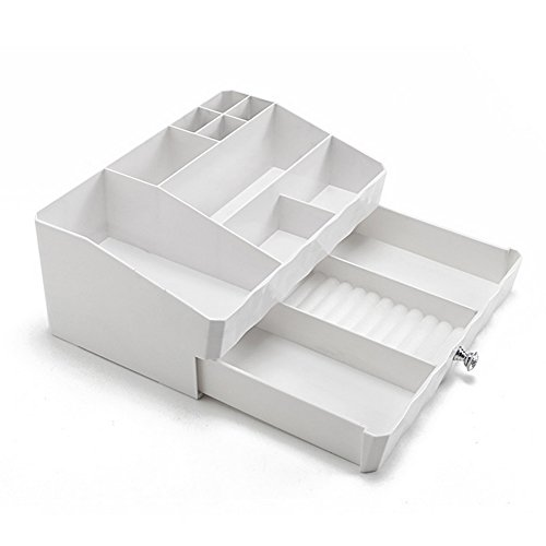 Cosmetic Storage Makeup Organizer,Jewelry Tray Rack,Desk Organizer Supplies Caddy Tray with Drawers (white)